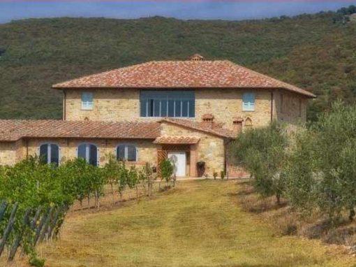 Stone villa in rural area in Tuscany.