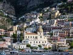 Cliffside buildings in Amalfi bay
