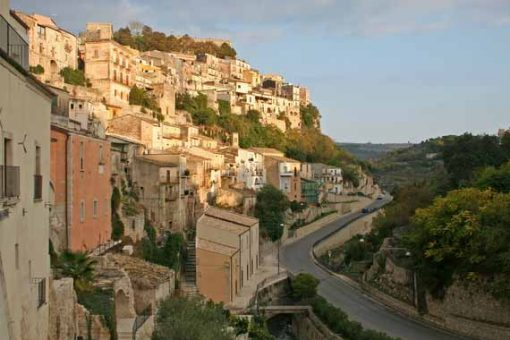 Stunning view of hill and stone houses in Ragusa