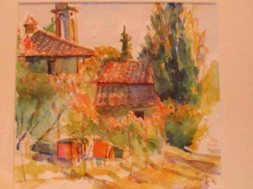 watercolour painting of an Italian street