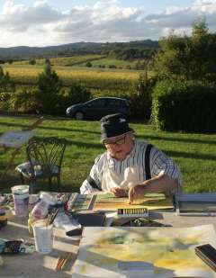 painting guest in robert in tuscany