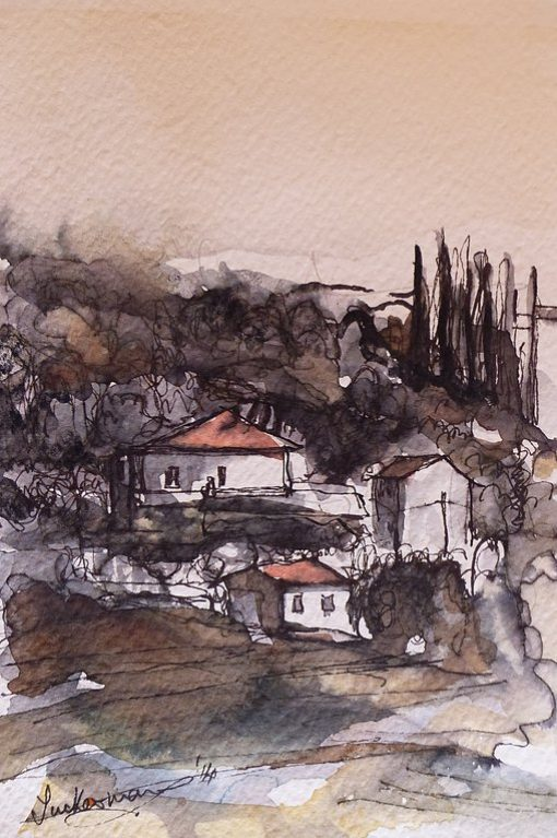Watercolour painting of Varramista Cottages by Hugh Tuckerman