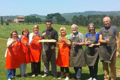 Cooking group with Italian chef in Tuscany.