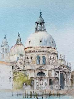 diane-boanas-watercolour painting of santa maria della salute in venice