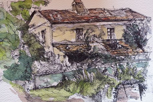 Drawing of Varramista Ruin in Tuscany