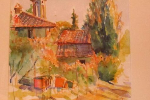 Colourful watercolour painting of a rusting building in Tuscany