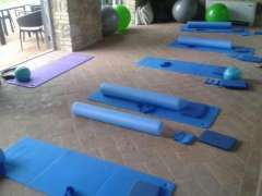 Pilates studio and Pilates mats before lessons in Tuscany