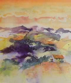 Watercolour painting of the Tuscan landscape