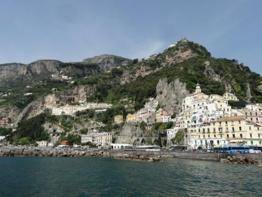 View from sea of Amalfi coast.